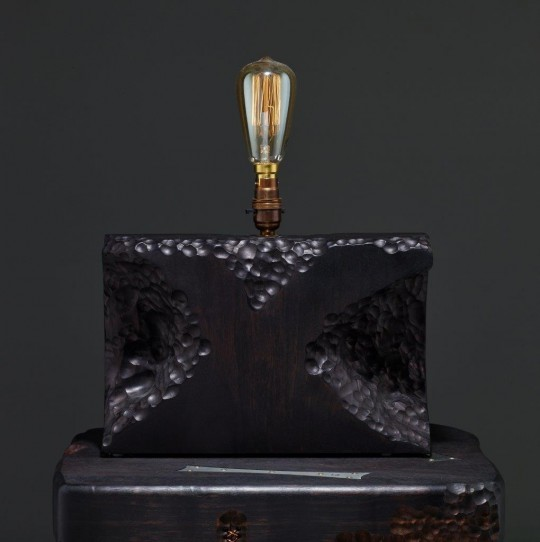 volcanic walnut table lamp. POA.