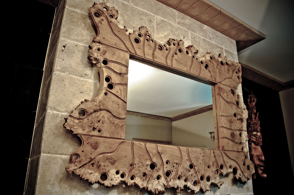Oak burr swiss jigsaw mirror. POA.