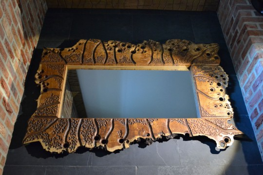 Brown oak burr swiss jigsaw volcanic mirror. POA.