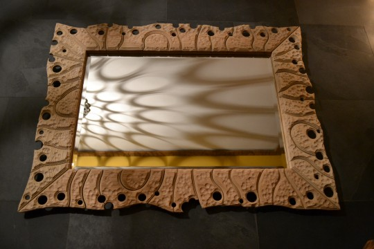 White Oak swiss jigsaw mirror. Sand blasted volcanic finish. POA.
