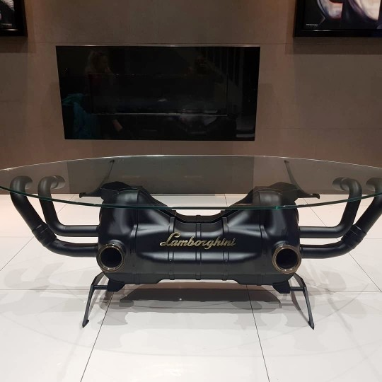Lamborghini exhaust coffee table.
